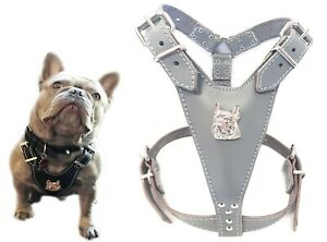 Grey Leather Dog Harness with French Bulldog Head for Fully Grown Frenchies