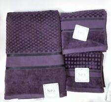 NEW SPA,KASSAFINA 3 PC VIOLET 3D 100% COTTON BATH,HAND TOWEL+WASH CLOTH