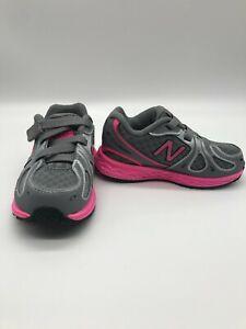 🌺New Balance KV890GPI Toddler Shoes Grey/Pink Mesh Adjustable Athletic - US7