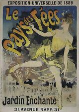 """""""LE PAYS DES FEES / EXPO UNIVERSELLE 1889"""" Affiche origin. entoilée Litho CHERET"""