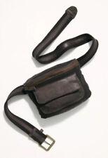 Free People Charlie Acid Wash Sling Bag Belt Handbag Black Leather & Canvas $68