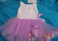 NWT Spunky Kids size 12mo white formal dress with pearls pink tulle skirt petals