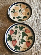 Dansk White Blue Berries Collection Peaches Strawberries Salad Plates Set 2