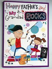 My Grandad Rocks Cat Music Karaoke & Stars Design Fathers Day Card Lovely Verse