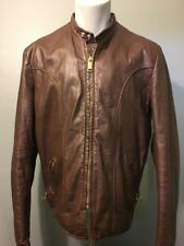 Vtg Brooks Cafe Leather Jacket Brown Mens 42 Snap Collar Biker Motorcycle Coat L