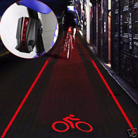 2 Laser+5 LED Flashing Rear Bike Bicycle Tail Light Lamp Beam Safety Warning