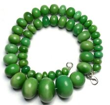 """Natural Gemstone Chrysoprase 8 to 22MM Smooth Rondelle Beads Necklace 497Cts 17"""""""