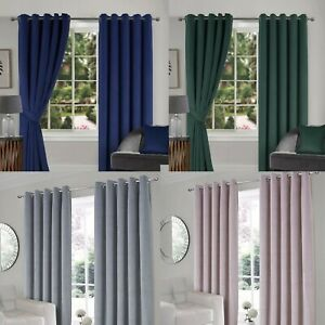 READYMADE THERMAL LUXURY VELOUR INTERLINED RINGTOP CURTAINS - EXTRA WARMTH