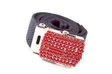 Las correas Niño/cinturón de Lona con Hebilla del rhinestone Rojo-cinturones de 5