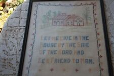 Antique Sampler House & Trees, style of chimney, doors, Windows indicate age?