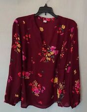 Women's Flowing Long Sleeve Burgundy Floral Old Navy Blouse Size Large