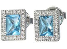 Blue Topaz Gemstone and Diamond Baguette Stud 18ct White Gold Earrings