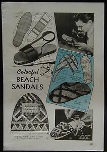 How-To Make BEACH SANDALS 1943 PLANS Raffia & Canvas