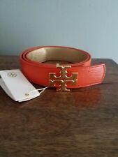 NWT Tory Burch Reversible Belt Spiced Orange Gold sz L VHTF