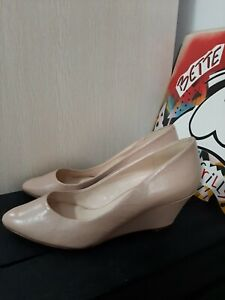 Nine West Nude Wedge Heel Leather Shoes Size 11 Ladies