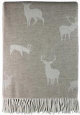 Large Luxury Merino Lambswool Bedspread Blanket Stag Throw - Fawn