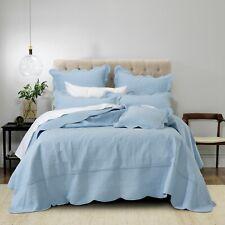 Hampton Bedspread Set Provincial Blue by Bianca | Beautiful scalloped edge