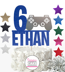 Personalised Gamer Birthday Cake Topper Decoration Playstation Any Name Age