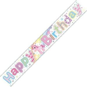 9ft Unicorn Happy Birthday Foil Banner Girls Party Decorations