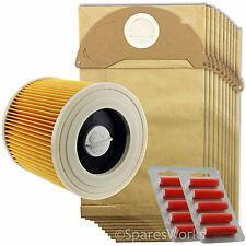 Karcher Wet and Dry Vacuum Filter Cartridge 10 Hoover Bags A2074PT WD2.200 IPX4