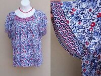 Westport Woman red white & blue top shirt plus size 3x smocked ltwt stretch knit