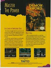 Vtg. 1989 Nintendo NES Taito DEMON SWORD video game print ad page