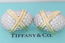 TIFFANY & Co Schlumberger Vintage Plat & 18K 6 ct Round Diamond Earrings Clip-on