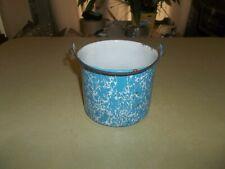 Vintage Blue Graniteware Berry Pail Bucket Antique Collectible Cookware !