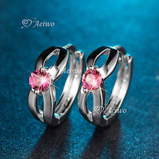18K WHITE GOLD GF HUGGIES MADE WITH SWAROVSKI CRYSTAL EARRINGS PINK