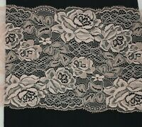 Dusky Pink Floral Flat Lace Trimming 5 inch 12.5cm 125mm Cut to order