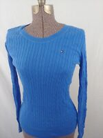 Tommy Hilfiger Women's 100% Cotton Blue Cable Knit Long Sleeve Sweater Sz Small