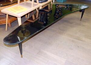 Mid Century modern MCM Boomerang Kidney Coffee Table Black Tripod Leg Retro