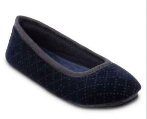 Ladies Isotoner Sabrine SOFT VELOUR Ballet style Slippers Sturdy Sole Navy Blue