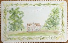Hand-Painted, Original Art 1880 Watercolor on Card - French Country Estate