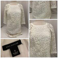 Ann Taylor Dress Sz 4 White 100% Cotton Back Zip Floral NWOT A499