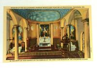 Vincennes Indiana Interior Old Cathedral Painting Of Crucifixion Linen Postcard