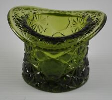 "Vintage Smith Glass Art Glass Top Hat Green Daisy And Button 3 1/4"" Y3"