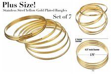 Plus Size Ladies Yellow Gold Plated 7 Bangle Bracelet Set Semanario Large
