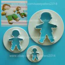 Boy shape cookie cutter 3 plastic pieces set. Cortador de galleta niño