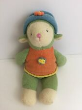 """Russ Berrie Wootles 12"""" Knit Easter Lamb Plush Toy Cream Green Blue Hat"""