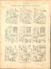 Paris caricature ministre bureau dessin humour de Caran d'Ache GRAVURE 1894