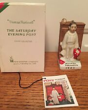 """Norman Rockwell Christmas Ornament 1989 """"Discovery� Boy with Stocking Ceramic"""
