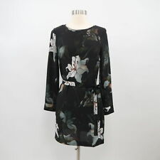 Club Monaco Silk Tunic Dress Womens 00 Black Floral Tie Long Sleeves
