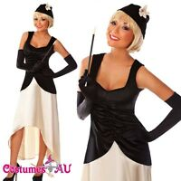 Ladies Black Flapper Gatsby Costume 20s 1920s Chicago Gangster 20's Fancy Dress