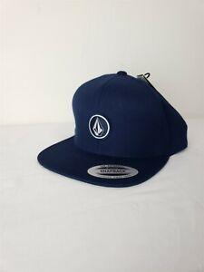 VOLCOM Quarter Twill Navy Blue Wool Blend Logo Snap Back Hat NWT