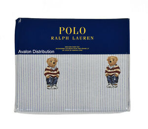Polo Ralph Lauren Striped Cotton Teddy Preppy Bear 4 PC King Sheet Set New