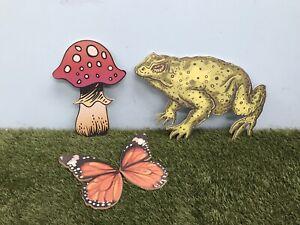 Set 3x MDF Toad Mushroom Butterfly Decoration Wonderland Fairy Halloween ET WL