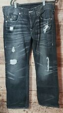 Men's True Religion Distressed Faded Black Straight Nat Grave Robber Jeans 36x30