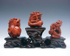 3 Japanese Boxwood Hand Carved *Dragons* Netsuke w/ Wooden Stand #03191604