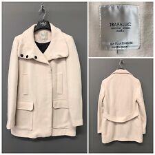 Zara Trafaluc Cream Pink Coat Jacket Small Outerwear Division Winter Warm